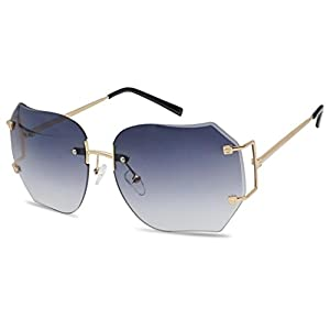 Oversized 70s Classic Large Rimless Laser Cut Transparent Colored Lens Sunglasses Women's Frameless Clear Lenses Eyewear Glasses (Gold | Purple Gradient, 65)