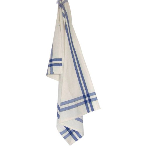 Dunroven House Cream Towel, 20 x 29-Inch, Provencial Blue and Black Stripe