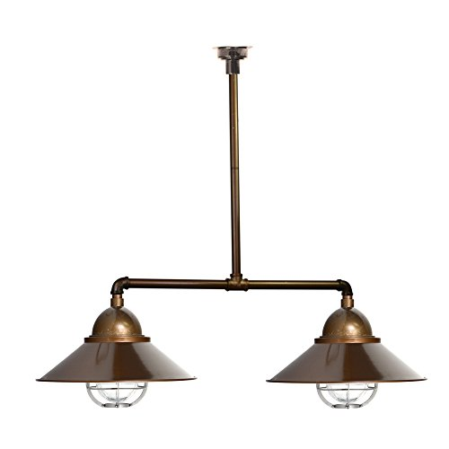 Lamp Pendant Dual (Cocoweb Geraldton Dual Chandelier Pendant Light | LED Light Bulbs Included | with Rustic Cage (Brass))