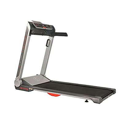 Sunny Health & Fitness Motorized Folding Running Treadmill with Wide Base, Portable, USB, Aux, Flat Folding & Low Profile - Strider, SF-T7718, Black