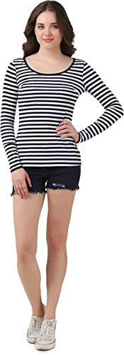 Himgiri International Casual Full Sleeve Striped Women Black, White Top