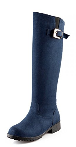 Aisun Womens Cool Comode Scarpe A Punta Tonda Con Cinturino, Tacchi Bassi, Slip On Flat Knee High High Boots Shoes Blue