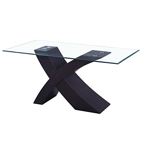 Fab Glass and Mirror FGM-TL-14C18 Modern Coffee, Dining Room Table, Black