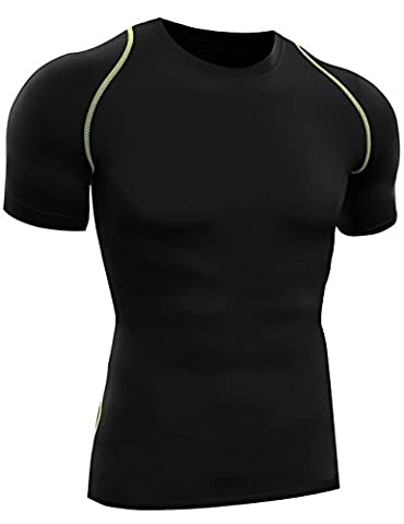 Men's Compression Shirt Sports Running Shirts Crewneck Short-sleeve(Medium,1 Pack-Black) - 1p Suits