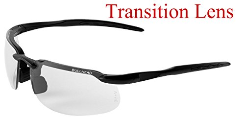 Bullhead Safety Eyewear BH10613 Safety Glass, One Size, Swordfish Matte Black Frame/Temples/Photochromic Lens