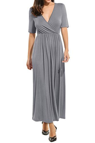 Meaneor Women's Sexy Deep V-Neck Wrap Jersey Pleated Cocktail Party Maxi Dress Grey XL