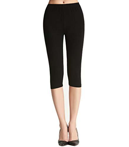 Liang Rou Women's Modal-Spandex Ribbed Thin Stretch Capri Leggings Black L Large / 12/14 1 X Black ()