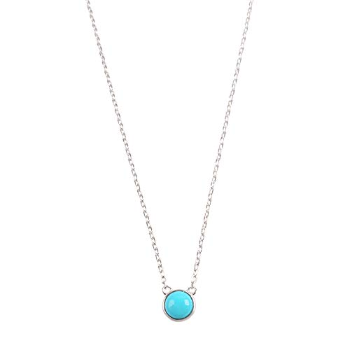 """ZENGORI 1 Piece 925 Sterling Silver Round Natural Turquoise Necklace 16"""" Length SS198"""