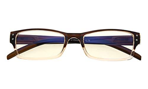 Anti Blue Rays Reduce Eyestrain and Headache Eyeglasses Computer Reading Glasses(Brown-Clear) +1.0