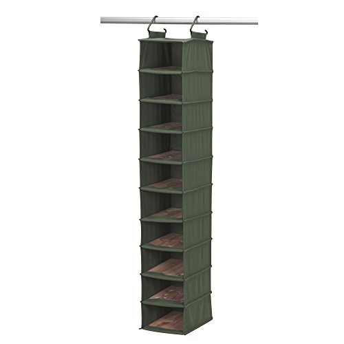 Household Essentials 2554-1 CedarStow Premier Hanging Shoe Organizer | 10-Shelf | Cedar Green (Unit Sanded Shelving)