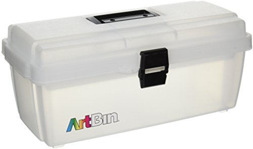 ArtBin 6966AB Lift-Out Tray Storage Box, 16-Inch, Translucent Clear with Black Latches