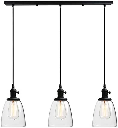 Phansthy Black Chandeliers 3 Light Kitchen Pendant Hanging Light with 5.7 Inches Oval Glass Light Shade, Black Finished Black, Oval