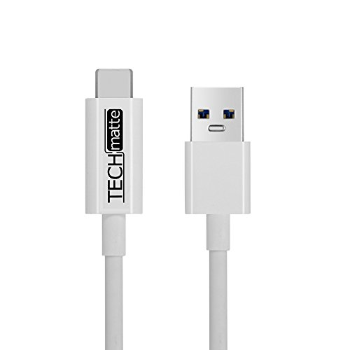 TechMatte USB Type C Cable (5FT), USB 3.0 Type A to Type C (USB to USB-C) Charger Cable for Galaxy Note 8, S9, S9 Plus, S8, S8+, Google Pixel, Pixel XL, OnePlus 5, Nexus 5X, 6P, LG G5 (5 Feet, White)