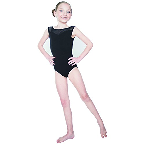39c6740a287 HDW DANCE Kids Girls Ballet Dance Leotard Mesh Mock Neck Sweetheart Front  Sleeveless Cotton …