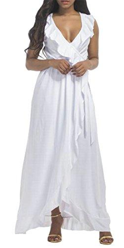 Bianco Donne Maxi Solido Profondo Vestito Cromoncent collo V Dell'increspatura Sleeveless Irregolare 7q6nv7