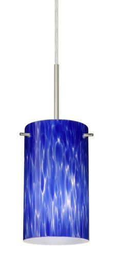 Besa Lighting 1BT-440486-LED-SN 1X6W GU24 Stilo 7 LED Pendant with Blue Cloud Glass, Satin Nickel Finish