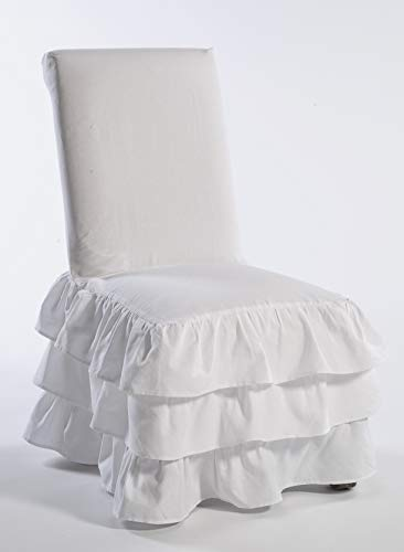 Classic Slipcovers CD3TRDINCHR Cotton Duck 3 Tier Dining Chair, - Dining Chair Ruffled Slipcover