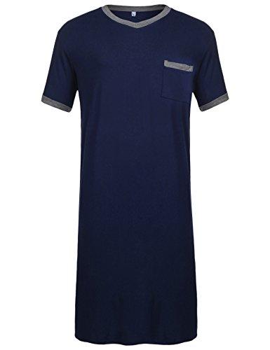 Ekouaer Mens Cotton Nightshirt Big & Tall Stripe Henley Sleep Shirt Sleepwear,Royal Blue-6717,XX-Large