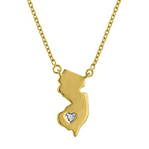 Sterling Silver New Jersey State Necklace 14k Gold over, Adjustable Chain by Diamond Accent