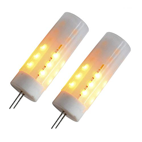 12v Flickering Flame LED Bulbs G4 Bi-pin Base, 2W 12volt G4 LED Flickering Fire Affects 1800k 12v Simulated Lighting Wood Stove Candle Camp Fire Affect (2 Pack)