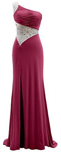 Dress Shoulder Prom One Formal Sheath Jersey MACloth Long Evening Weinrot Gown I5XxqdwRT