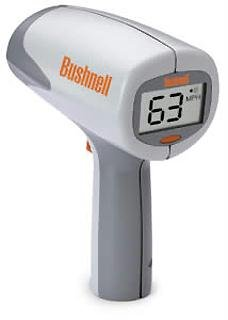 Bushnell 101911 Velocity Speed Gun, 10-110 mph - 90 feet away / 16-177 kph - 27 meters away Baseball radar gun / Softball / Tennis, 10-200 mph - 1500+ feet away/ 16-322 kph -457 meters away Auto Racing, Easy to use - Bushnell point-and-shoot pistol grip, Large, clear LCD police radar gun display, Supports both MPH and KPH speed modes, Displays fastest speed once trigger is released