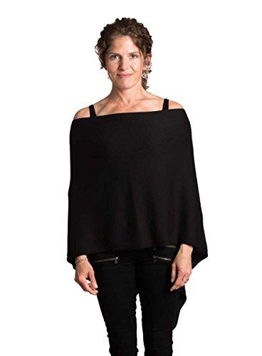 GuyGifter Cotton Cashmere Dress Topper Poncho Shawl Wrap Black