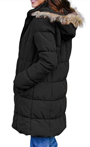 Spessa Verso Delle Più Il Casuale Incappucciato Di Donne Sicurezza Basso Nero Lunga Outwear Giacca Manica Tnz808