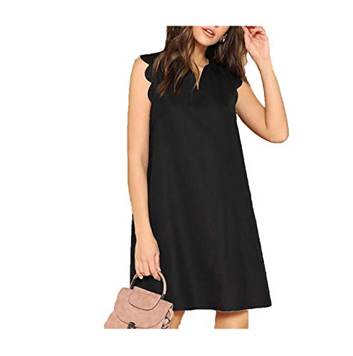 Sleeveless Summer Lady Solid V-Neck Scallop Trim Trapeze Mini Elegant Dress,Black,L