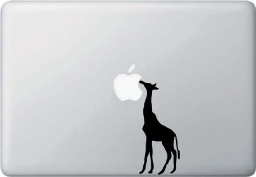 [Giraffe Eating Apple - Macbook or Laptop Decal] (Giraffe Decal)