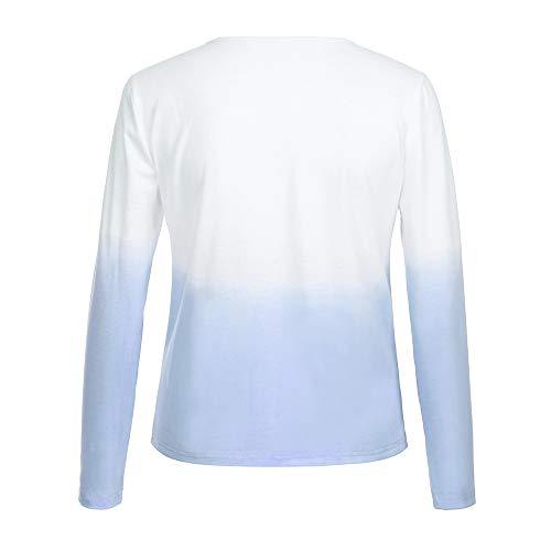 WYXlink Femme Longues Manches Bleu Chemisier pqnp1rTS