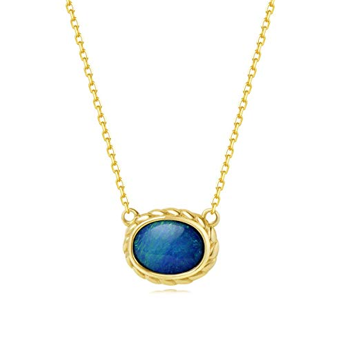 (AGVANA 18K Solid Yellow Gold Au750 Real Genuine Natural Fire Opal Oval Pendant Necklace Fine Jewelry Gift for Women Girls 16