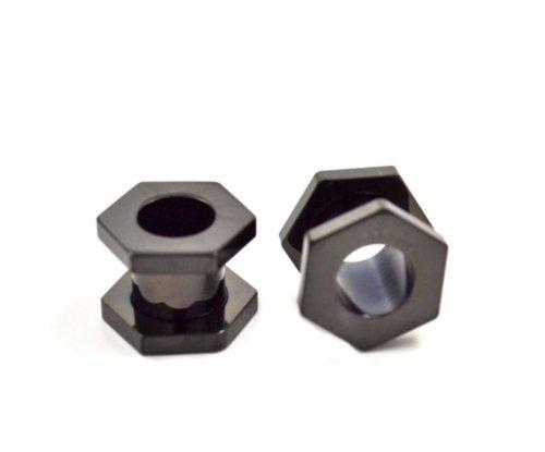 Black Titanium Plated Screw (Pair (2) Black Titanium Plated Screw Fit Hexagon Ear Plugs Tunnels Gauges- 2G 6MM)