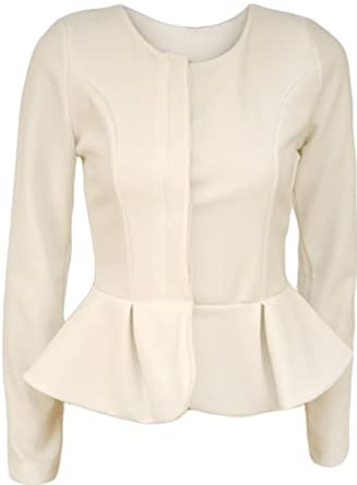 Ladies Peplum Fitted Short Jacket Womens Smart Formal Long Sleeve