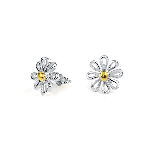 Bling Jewelry 925 Sterling Silver Gold Plated Two Tone Daisy Stud Earrings