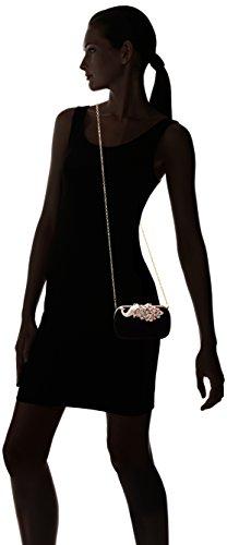 Clasp Elegant Cocktail Rhinestone Womens BMC BLACK Velvet Handbag Evening Peacock wq4BAI