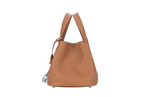 (LUCKYSGY Women's Tote Bag Genuine Togo Leather Bucket Handbag Padlock Purse for Lady (Camel))