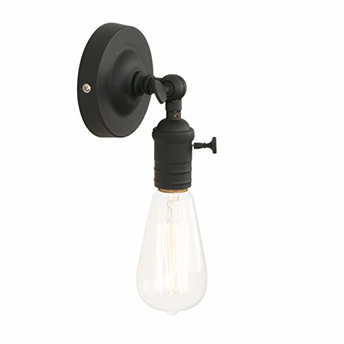 (Pathson Vintage Wall Lamp, 1 Light Loft Sconce with Candlestick Molding Design, Industrial Wall Light Fixture, 180 Degree Rotated Metal Base Cap for Farmhouse (Bulbs Not Included))