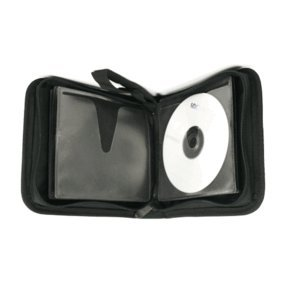 ([EOL] SuperMediaStore 24 Disc Capacity Koskin/Black Leather-Like Quality CD DVD Wallet )