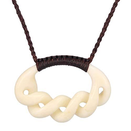 XKCHIEF Maori Traditional Style, Oval Shape, 5 Twist Infinity ❤️, Buffalo Bone, Hand Carved Pendant Necklace, 1.18