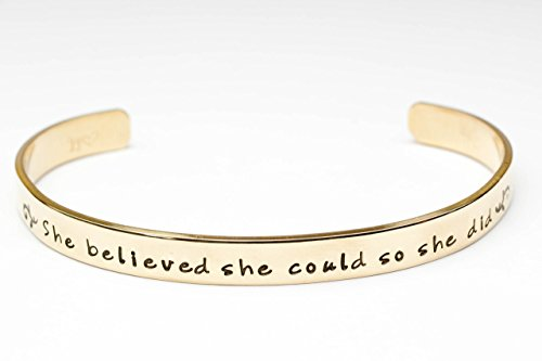 Inspirational Bracelet, Quote Jewelry, She Believed She Could So She Did Hand Stamped Bracelet, Gold Brass, Graduation Gift, Gift for (Contemporary Cuff Bracelet)