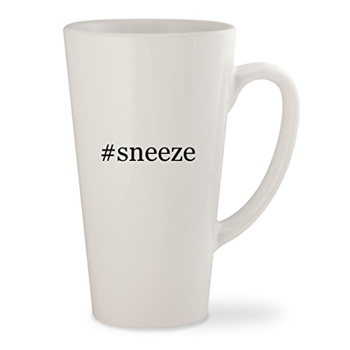 #sneeze - White Hashtag 17oz Ceramic Latte Mug Cup