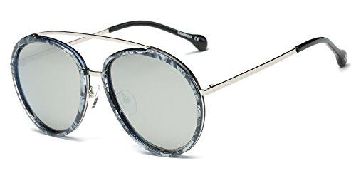 Cramilo Classic Fashion Polarized Round Oversize Top Bar Sunglasses (Silver / Light Gray with Tortoise Rims, - Kardashian Kourtney Small Sunglasses