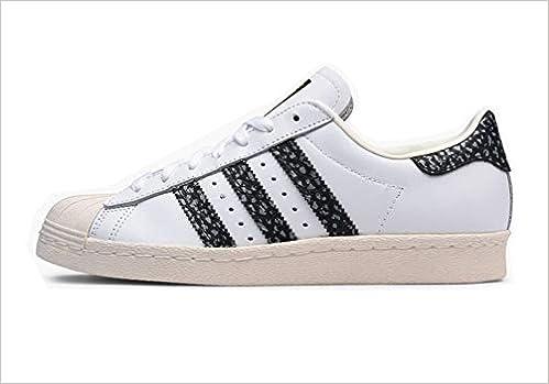 various styles online shop clearance sale adidas Superstar 80s chaussures, blanc noir vert, 44 EU