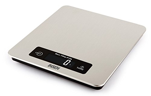 INSEN Digital Kitchen Scale, Multifunction Food Scale, Large Stainless Steel Platform with Backlit LCD, Capacity up to 22lb/10kg
