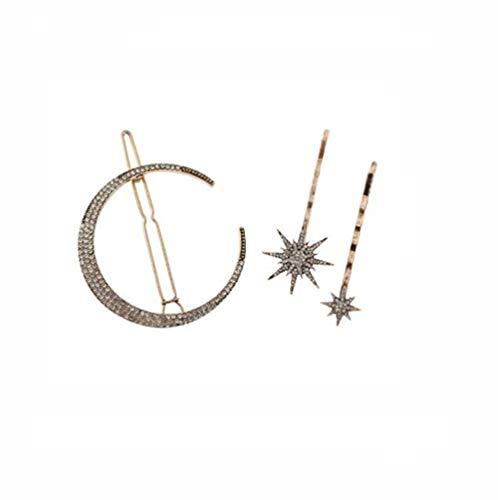 Diamond Set Snowflake - A Set(3Pcs) Alloy Hair Barrettes - Fashion Moon Snowflake Shape Imitation Rhinestone Diamond-studded Hair Clips Hair Pins Hair Style Accessories For Women Girl Lady