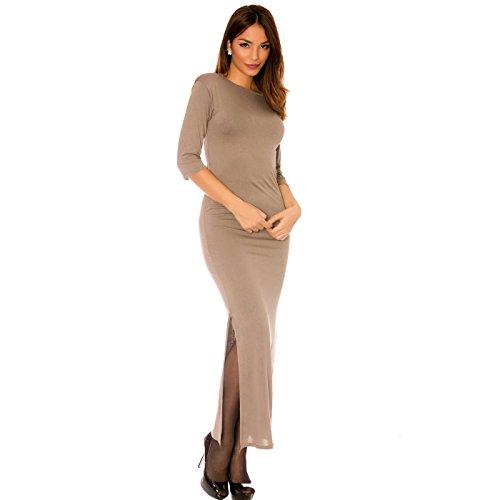 Miss Wear Line - Longue robe taupe manches 3/4, fendu sur le côté
