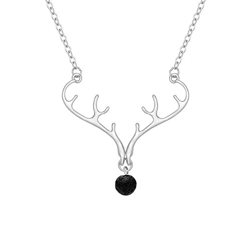 "SENFAI Christmas Element Deer Antler Plus Black Lava Rock Volcano Stone 8mm Essential oil diffuser Pendant Necklace 18"" (Silver)"