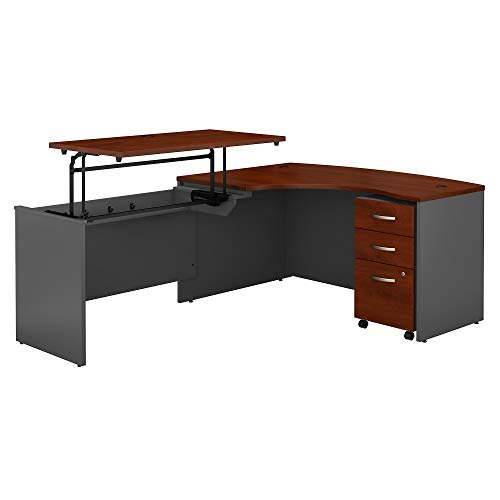Bush Business Furniture Series C 60W x 43D Left Hand 3 Position Sit to Stand L Shaped Desk with Mobile File Cabinet in Hansen Cherry/Graphite Gray