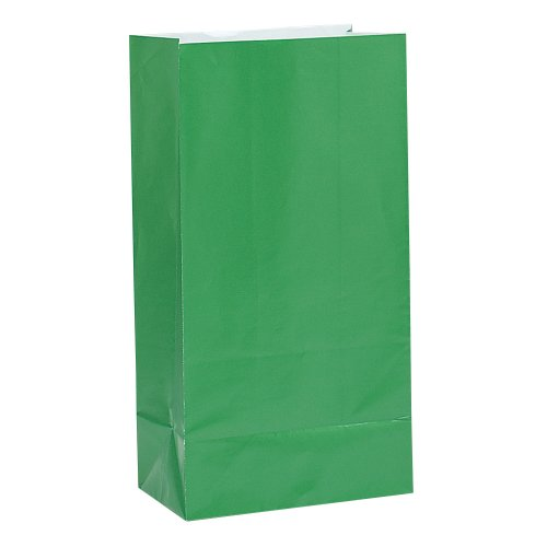 Green Paper Party Favor Bags, 12ct Double Face Green Letter